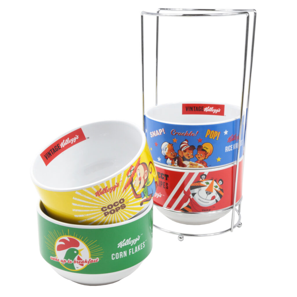 Set of 4 Cereal Bowls - Stackable in Rack - Kelloggs
